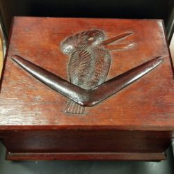 Rare early 20th century Art Deco Kookaburra and Boomerang carved timber casket