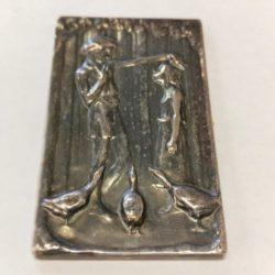 Art Noveau Silvered Bronze Panel